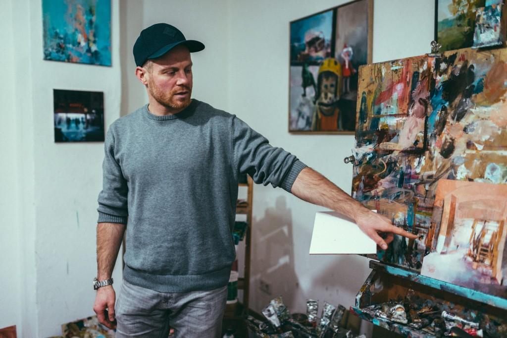 Künstler Heiko Mattausch in seinem Leipziger Atelier.