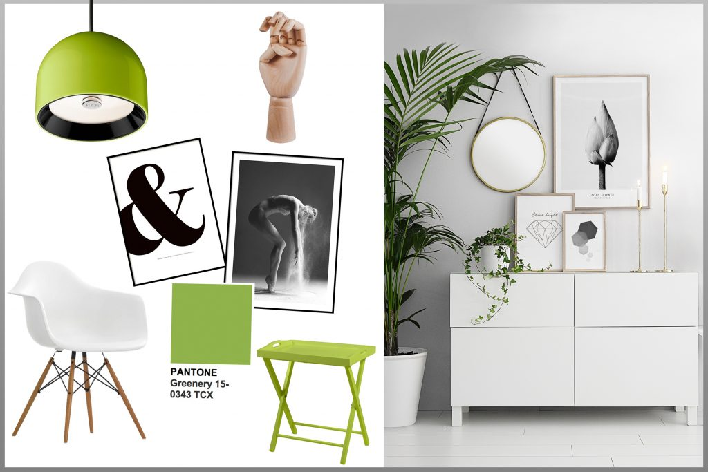 Hier solltest du eine Collage sehen: Interior Design, Pantone Farbe Greenery im schlichten Design