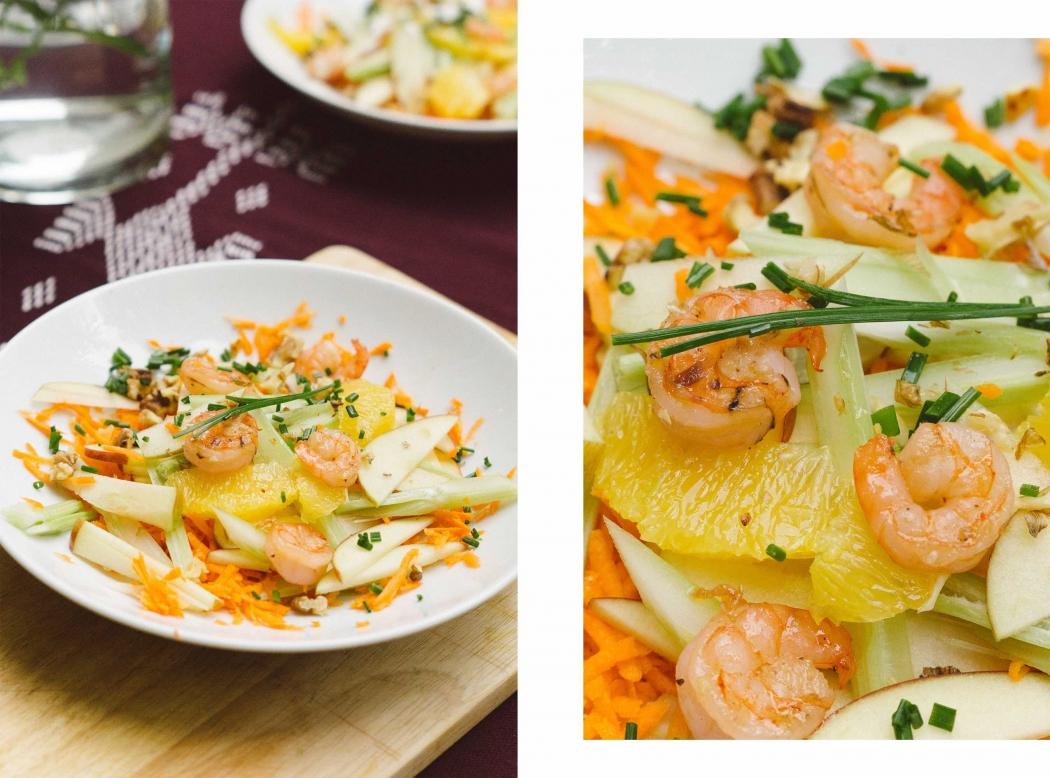 Fertig! Marley Spoons Shrimps-Salat mit Karotten und Apfel